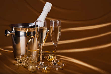 Christmas background with Champagne photo