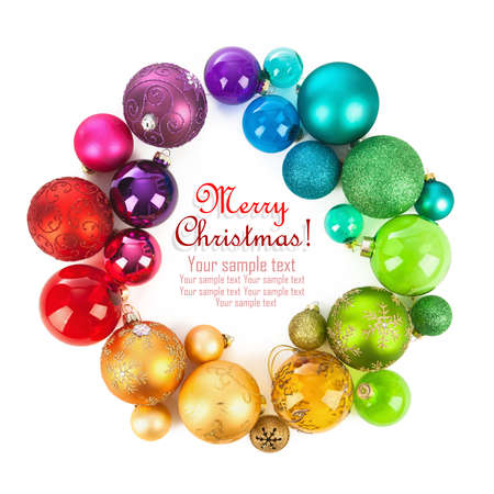 Christmas wreath of colored balls photo