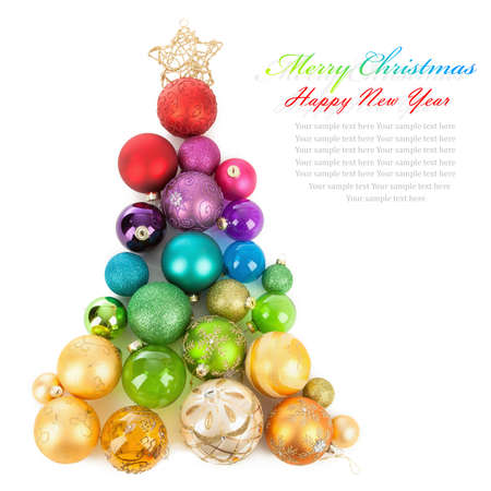 Christmas tree of colored balls photo
