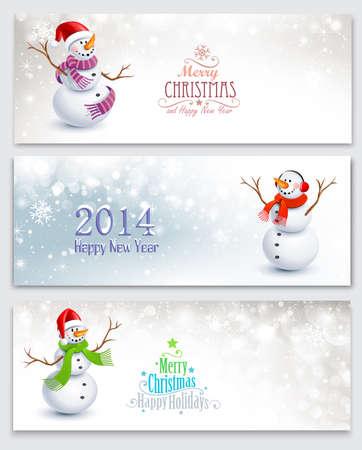 felicitaciones navide�as: Banderas de Navidad con mu�ecos de nieve Vectores