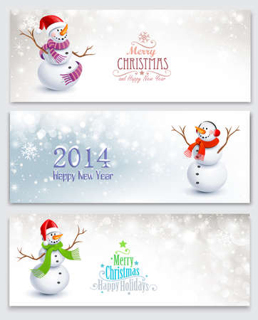 Christmas banners with snowmen 向量圖像