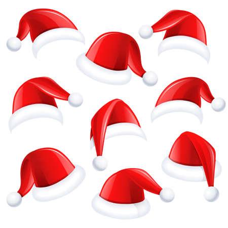 santa: Set of red Santa Claus hats on white background