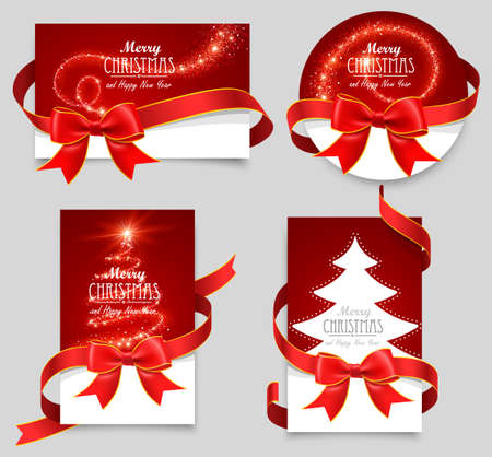 christmas cards: Gift cards with red bows Illustration