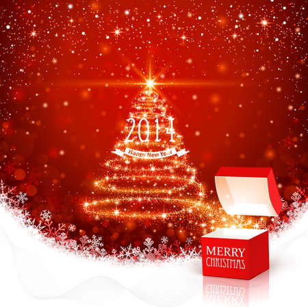 Christmas background with magic box Stock Vector - 23656176