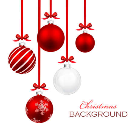 Christmas balls with red ribbon and bows isolated on white