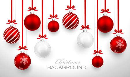 Boules de Noël avec le ruban rouge et arcs carte de Noël