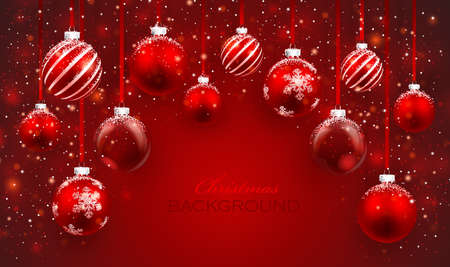 Christmas balls with snow on red background  Christmas card Illustration