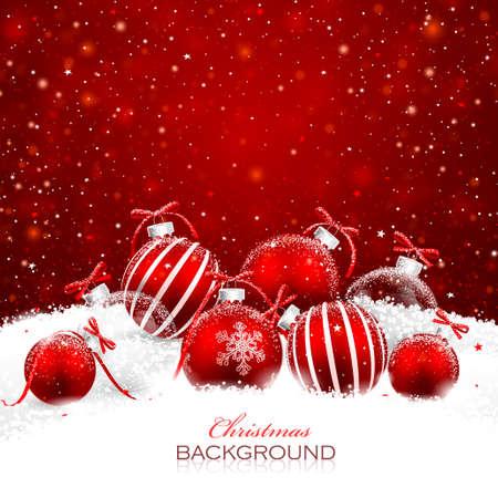 赤の背景にクリスマス ボール