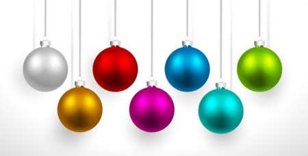bolas de navidad bolas de colores de navidad con la sombra vectores