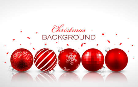 反射と赤いクリスマス ボール