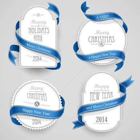 Collection of Christmas emblems with ribbons Illustration