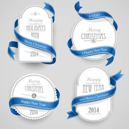 Sammlung von Weihnachts-Embleme mit Bändern