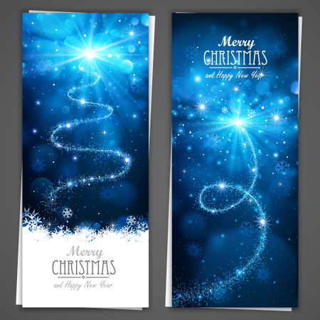 Collection of Christmas banners on a gray background