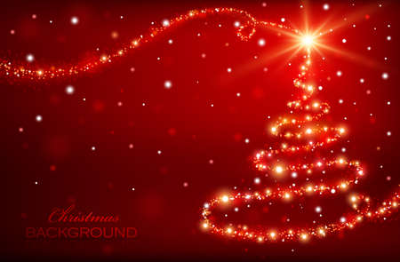 Christmas background with magic tree Illustration