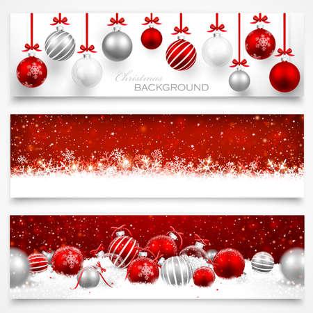 Sammlung von Weihnachts-Banner mit Schneeflocken und Weihnachtskugeln