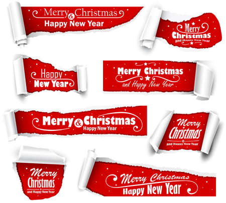 curled corner: Collection of red paper with Christmas text