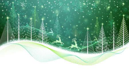 renos de navidad: Bosque de la Navidad con el reno mágico y árboles abstractos