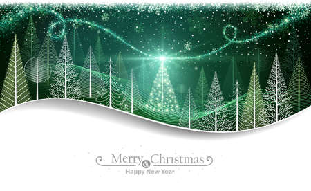 Christmas forest with abstract trees and magical Christmas tree