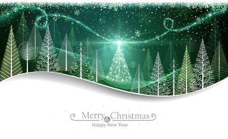 Weihnachtswald mit abstrakten Bäumen und magischen Weihnachtsbaum Illustration