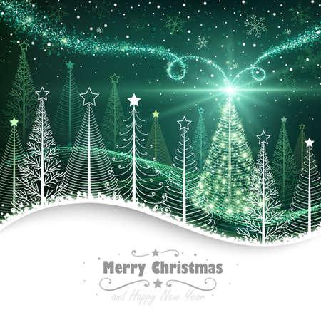 Foresta di inverno con l'albero di Natale magico Archivio Fotografico - 24520308