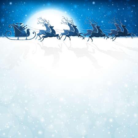 Kerstman rijdt in een rendierslee