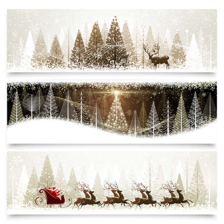 winter scene: Collection of banners with Christmas landscapes