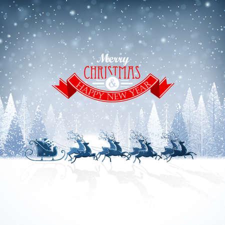 Santa Claus rides in a reindeer sleigh Çizim
