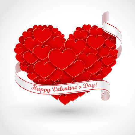Big heart with ribbon Vector