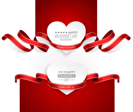 valentine's: Valentines Day emblems with red ribbons  Vector
