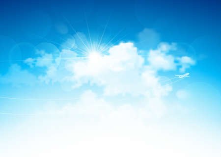 Blue sky with clouds and bright sun and flying airplane  Vector illustration Çizim