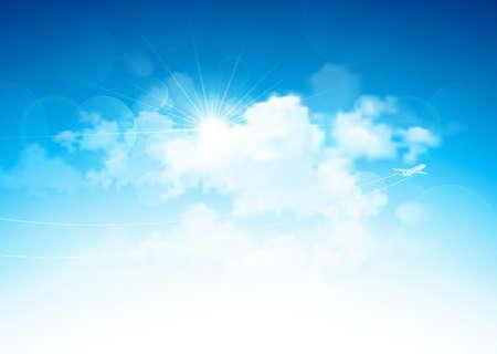 Blauwe lucht met wolken en felle zon en vliegend vliegtuig Vector illustratie