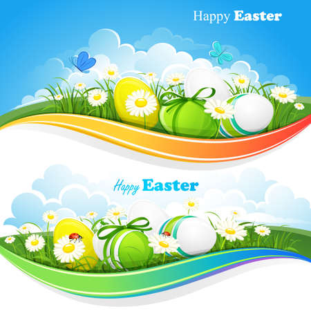 Easter colored backgrounds Vector
