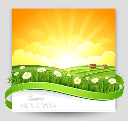 Sunset landscape vector: Summer landscape with flowers at sunset Vector illustration Hình minh hoạ