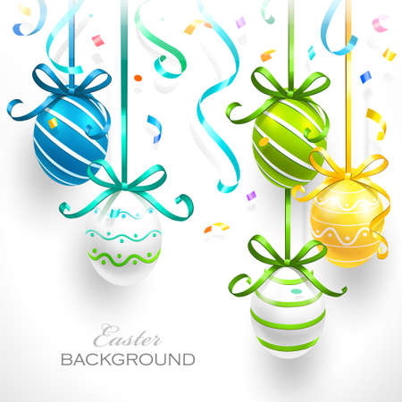 Easter eggs with ribbons and confetti Vector