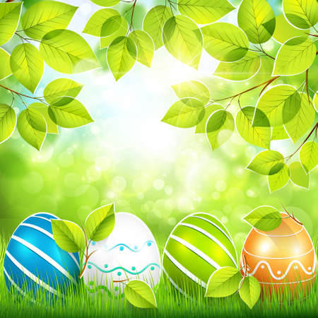 Natural background with Easter eggs Vector