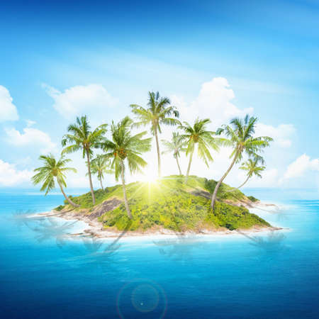 Tropical island with palm trees and sun photo