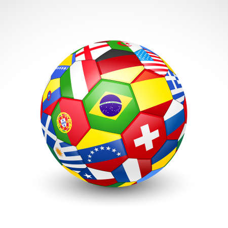 Football soccer ball with world teams flags  Vector Vector