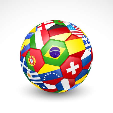 Fußball Fußball mit Welt Teams Flags Vektor