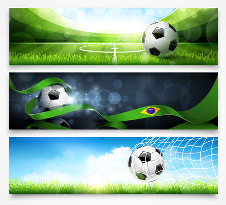 Set of football banners with shadow on a light background