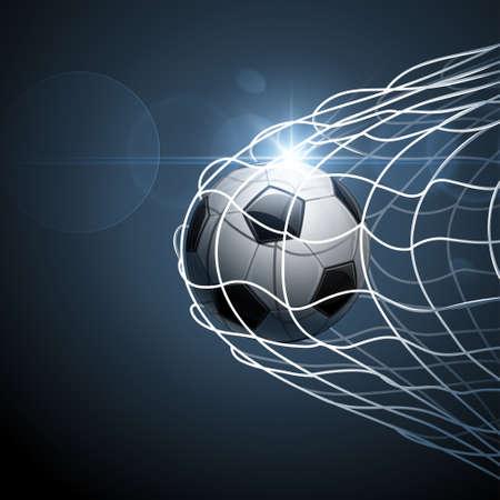 Balón de fútbol en la portería con efecto brillante ilustración vectorial