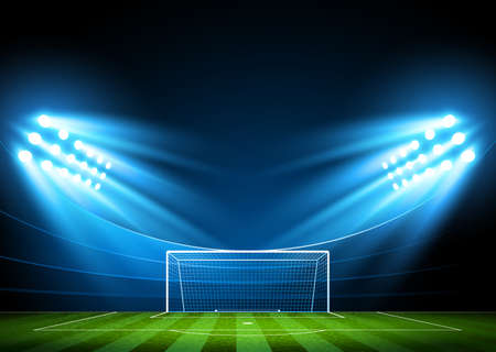 Soccer stadium, arena in night illuminated bright spotlights Vector