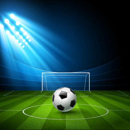 Arène de football, stade avec un ballon de football Banque d'images - 29458729