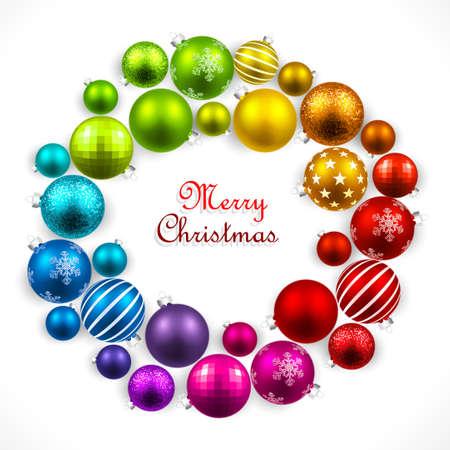 coronas de navidad: Corona de Navidad de bolas de colores Vectores