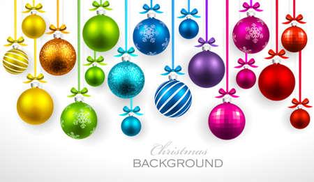 Christmas balls with ribbon and bows