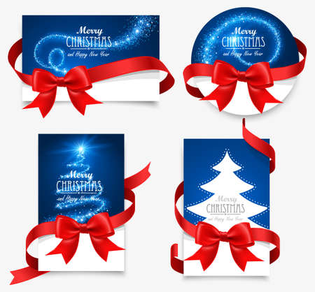 Gift cards with red bows Illustration