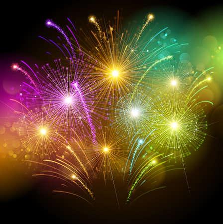 ünneplés: Színes tűzijáték Illusztráció