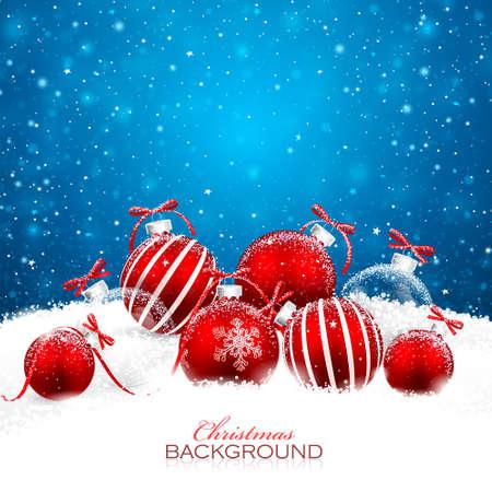 Kerstversiering met rode ballen.