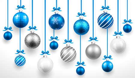 Christmas blue balls.  Vettoriali