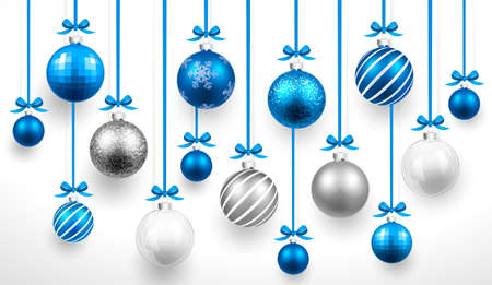 Christmas blue balls.  Vectores