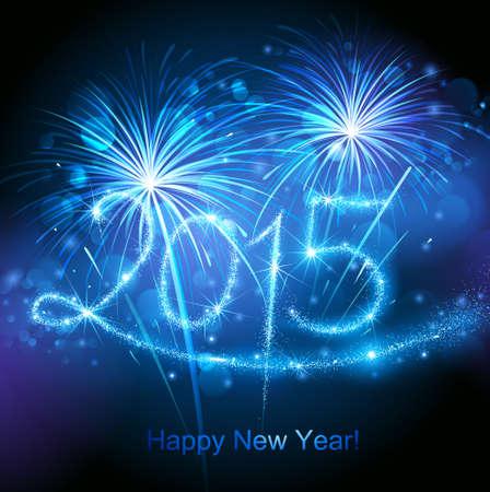 fireworks show: New Year 2015 fireworks Illustration